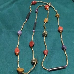 """22"""" LONG NECKLACE WITH BEADS & OJECTS 3 for $10"""